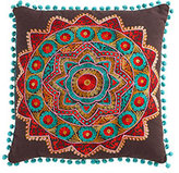 Pom-Pom Accent Pillow - Brown with Blue Pom-Poms