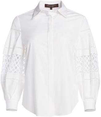 Carolina Herrera Cotton Button Front Blouse