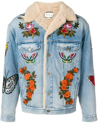 Gucci shearling lined embroidered denim jacket
