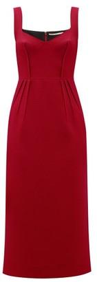Emilia Wickstead Juditella Darted Wool Midi Pencil Dress - Womens - Dark Red