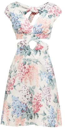 Ephemera - Bloom Cut-out Front Floral-print Linen Mini Dress - Blue Print
