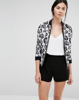 Helene Berman Bomber Jacket In Black & White Rose Jacquard