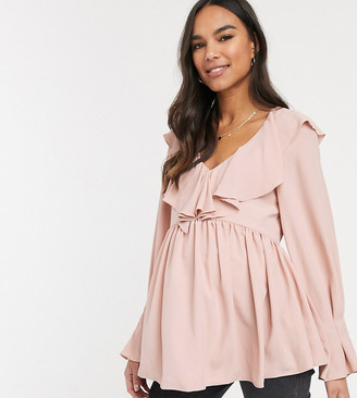 Asos DESIGN Maternity long sleeve smock top with frill neck detail
