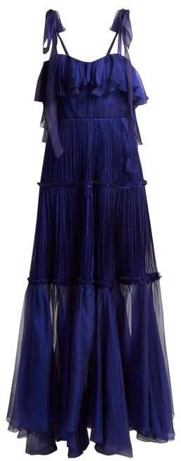 Maria Lucia Hohan Norah Bustier Silk Dress - Womens - Blue