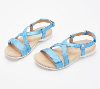 Spenco Orthotic Cross Strap Sandals -Grace Metallic