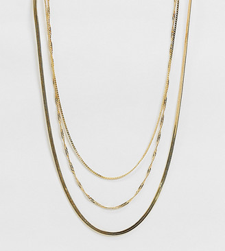 ASOS DESIGN 14k gold plated multirow necklace in fine curb and snake chains