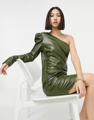 NaaNaa one shoulder faux leather bodycon dress in khaki