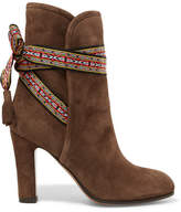 Etro Jacquard-trimmed Suede Ankle Boots - Mushroom