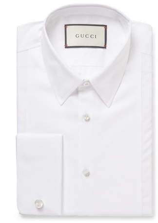 Gucci White Slim-Fit Bib-Front Double-Cuff Cotton-Poplin Shirt