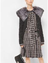 Michael Kors Silver Fox-Trimmed Cashmere Tweed Cardigan