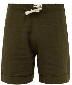 MARANÉ Drawstring Linen Shorts - Khaki