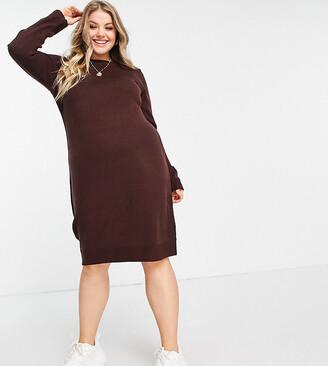 Brave Soul Plus Grungy Round Neck Jumper Dress