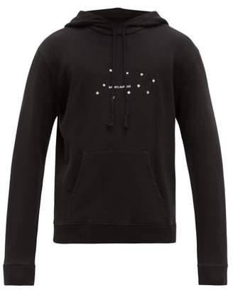 Saint Laurent Logo Print Cotton Hooded Sweatshirt - Mens - Black Silver