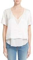 Alexander Wang Women's Charmeuse V Neck Top With Chiffon Insert