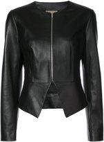Michael Kors collarless leather jacket - women - Leather/Acetate/Cupro - 8