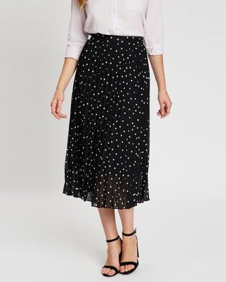 Dorothy Perkins Polka Dot Chiffon Pleated Midi Skirt