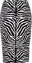 Michael Kors Black and White Animal Printed Skirt