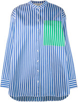 Ports 1961 striped collarless shirt - women - Silk/Cotton/Polyester - 40
