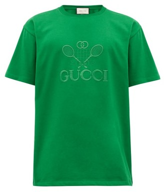 Gucci Embroidered Tennis Logo Cotton-jersey T-shirt - Green