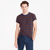 Slub Cotton T-shirt In Blue And Brown Stripe