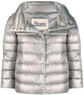 Herno Cropped Zip-Up Jacket