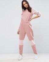 Asos Jersey Sweat Jumpsuit with Contrast Fleece Detail