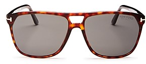 Tom Ford Men's Shelton Polarized Brow Bar Square Sunglasses, 59mm