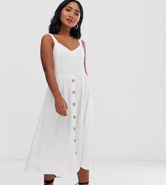 New Look Petite button down midi dress in white