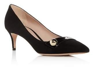 Giorgio Armani Women's Decollete Suede Kitten-Heel Pointed Toe Pumps