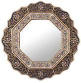 Reverse Painted Glass Mirror Handmade in Peru, 'Star'