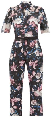 Erdem Vala Dusk Bouquet-print Cotton-blend Jumpsuit - Black Pink