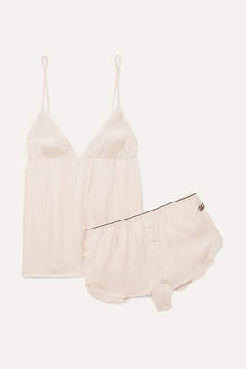 Off-White Love Stories - Lotty And Mae Chiffon-trimmed Embroidered Satin Pajama Set