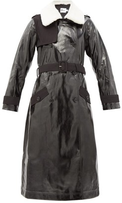Self-Portrait Double-breasted Belted Faux-leather Trench Coat - Black