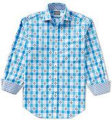 Thomas Dean Check Novelty-Print Long-Sleeve Woven Shirt