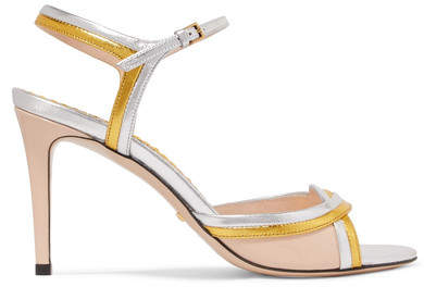 Gucci Millie Metallic And Patent-leather Sandals - Silver