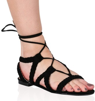 Public Desire Joey Flat Gladiator Sandals Faux Suede
