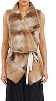 08sircus Women's Fur Belted Wrap Vest-BROWN