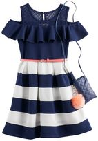 Knitworks Girls 7-16 Knit Works Cold-Shoulder Textured Skater Dress with Crossbody Purse