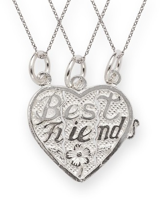 Curata Sterling Silver Best Friends 3-piece Break Apart Heart Charm with Chains