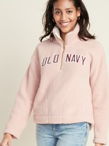 Old Navy Logo-Graphic 1/2-Zip Sherpa Pullover for Women