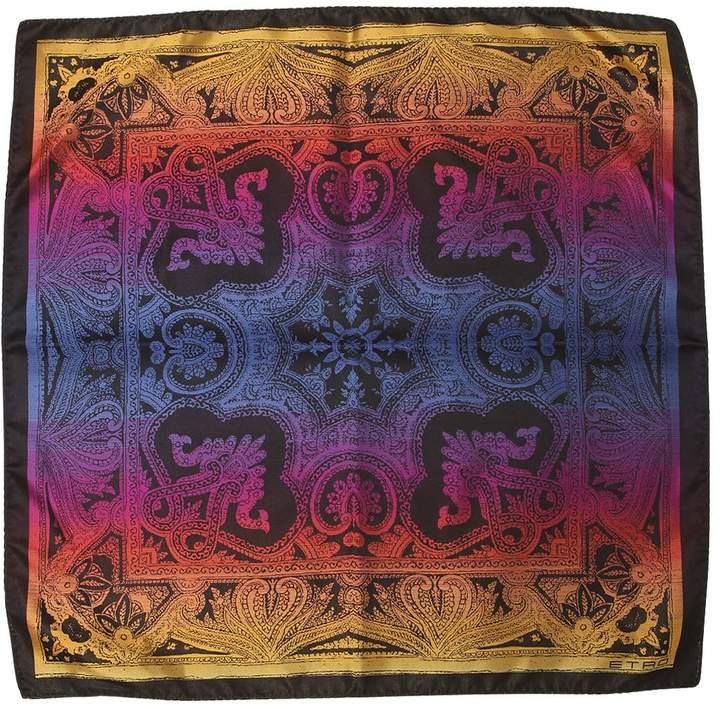 Etro Paisley Printed Silk Satin Pocket Square