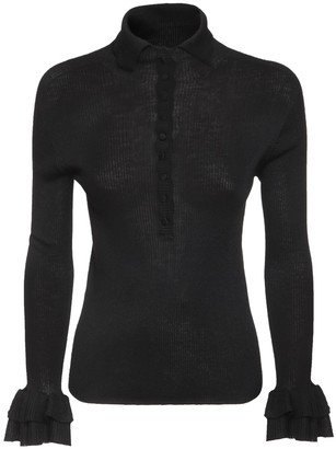 Philosophy di Lorenzo Serafini Ruffled Wool Blend Knit Sweater