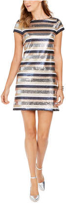 Vince Camuto Vince Camtuo Sequined Striped Bodycon Dress