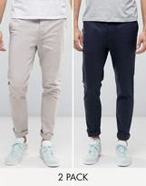 Asos 2 Pack Skinny Chinos In Navy And Light Grey