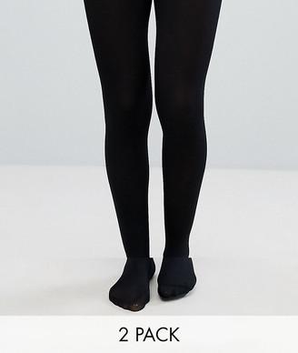 ASOS DESIGN 2 pack 80 denier black tights in recycled nylon