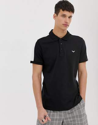 Threadbare polo shirt with cut and sew panels-Black