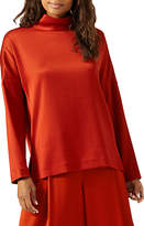 Jigsaw Satin Twill Funnel Neck Top, Nordic Orange