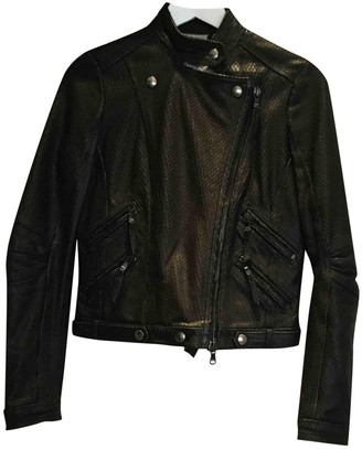 Dacute Black Leather Leather Jacket for Women