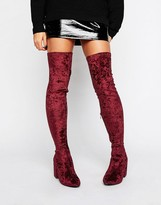 Daisy Street Velvet Thigh High Heeled Over The Knee Boots