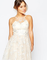 Chi Chi London Petite Embroidered Halter Prom Dress